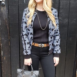 Willow & Clay Floral Applique Bomber Jacket